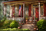 Flags Framed Prints - House - Porch - Belvidere NJ - A classic American home  Framed Print by Mike Savad