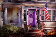 Flags Posters - House - Porch - Cranford NJ - Lovely in Lavender  Poster by Mike Savad