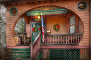 Vintage Houses Prints - House - Porch - Metuchen NJ - That yule tide spirit Print by Mike Savad