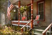 Flag Day Framed Prints - House - Porch - Traditional American Framed Print by Mike Savad