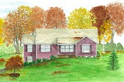 Blueprints Drawings Prints - House Rendition in Autumn Print by Michelle Welles