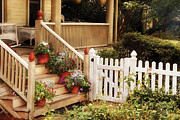 Porches Prints - House - Rutherford NJ - My Grandmothers Garden  Print by Mike Savad