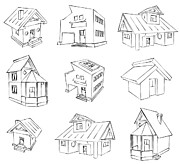 House Digital Art Originals - House Sketch Set by Ioan Panaite