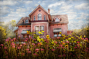 Sun Flowers Framed Prints - House - Victorian - Summer Cottage  Framed Print by Mike Savad