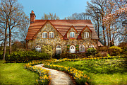 Daffodils Framed Prints - House - Westfield NJ - The estates  Framed Print by Mike Savad
