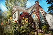 Sun Flowers Framed Prints - House - Westfield NJ - The summer retreat  Framed Print by Mike Savad