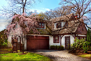 Driveway Framed Prints - House - Westfield NJ - Who doesnt love spring  Framed Print by Mike Savad