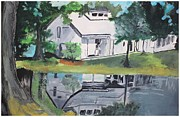Pallavi Sharma Framed Prints - House with lush green surroundings Framed Print by Pallavi Sharma