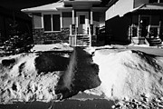 Covered Porch Posters - house with path cleared of snow leading to front porch Saskatoon Saskatchewan Canada Poster by Joe Fox