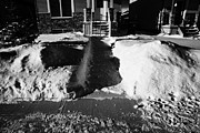 Covered Porch Posters - house with path cleared of snow leading to front porch Saskatoon Saskatchewan  Poster by Joe Fox