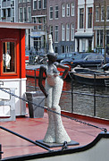 Amsterdam Market Framed Prints - Houseboat Chanteuse Framed Print by Allen Beatty