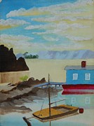Lakeshore Paintings - Houseboat Harbor by Theodore A Gault