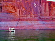 Southern Utah Digital Art Posters - Houseboat on Lake Powell in Rainbow Bridge National Monument-UT Poster by Ruth Hager