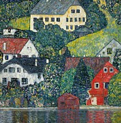 Red Buildings Framed Prints - Houses at Unterach on the Attersee Framed Print by Gustav Klimt