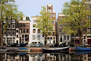 Linked Metal Prints - Houses in Amsterdam Metal Print by Artur Bogacki
