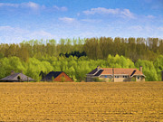 Rural Scenes Digital Art - Houses in Farmland by Wim Lanclus