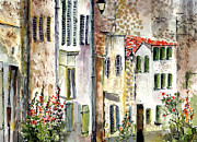 Roofs Paintings - Houses in La Rochelle France by Ginette Callaway