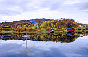 Norwegian Fishing Village Paintings - Houses in Norway by Lanjee Chee