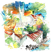 Nova Drawings - Houses in Villa Nova de Milantes in Portugal by Miki De Goodaboom
