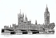Original Pen And Ink Drawing Prints - Houses of Parliament and Big Ben in London Print by Brian Thompson