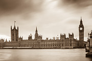 St Elizabeth Framed Prints - Houses of Parliament and Elizabeth Tower in London Framed Print by Semmick Photo