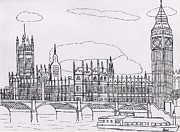 Boat Cruise Drawings Framed Prints - Houses of Parliament Framed Print by Bav Patel
