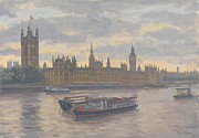 Signed Metal Prints - Houses of Parliament Metal Print by Julian Barrow