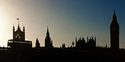 Bus Photo Framed Prints - Houses of Parliament Skyline in Silhouette Framed Print by Susan  Schmitz