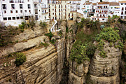 Pueblo Blanco Metal Prints - Houses on a Rock in Ronda Metal Print by Artur Bogacki