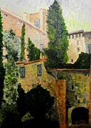 Italian Sunset Originals - Houses on the Onyar by Liz Young