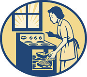 Oven Prints - Housewife Baker Baking in Oven Stove Retro Print by Aloysius Patrimonio