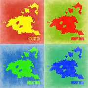 Houston Framed Prints - Houston Pop Art Map 2 Framed Print by Irina  March