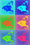 Houston Framed Prints - Houston Pop Art Map 3 Framed Print by Irina  March