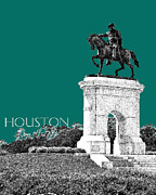 Houston Sam Houston Monument - Sea Green Print by DB Artist