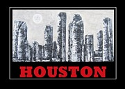 Skylines Mixed Media Metal Prints - Houston Skyline 2 Metal Print by Suzanne Theis