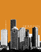Houston Skyline - Dark Orange Print by DB Artist