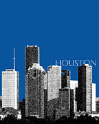 Pencil Sketch Framed Prints - Houston Skyline Royal Blue Framed Print by DB Artist