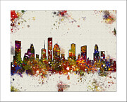 Watercolor Map Paintings - Houston Skyline by WaterColorMaps Chris and Mary Ann
