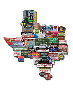 Photomontage Digital Art - Houston Texas Shaped Photomontage by Carl Crum