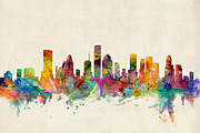 Watercolor  Posters - Houston Texas Skyline Poster by Michael Tompsett