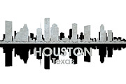 Skyline Mixed Media Posters - Houston TX 4 Poster by Angelina Vick
