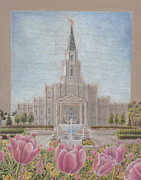 Religious Drawings Framed Prints - Houston TX LDS Temple Framed Print by Pris Hardy