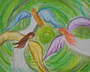 Angels Pastels Prints - Hovering Angels Print by Sally Rice