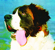 Rescue Mixed Media Posters - How Bout A Kiss - St Bernard Art by Sharon Cummings Poster by Sharon Cummings