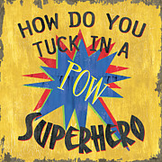 Boys Painting Posters - How Do You Tuck... Poster by Debbie DeWitt