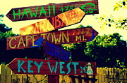 Far West Prints - How Far is it To Key West Print by Susanne Van Hulst