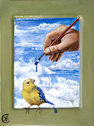 Egg Tempera Framed Prints - How God Made Bluebirds Framed Print by Ann Marie Campbell