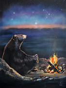 Spiritual Mixed Media Prints - How Grandfather Bear created the Stars Print by J W Baker