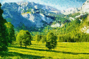 Mountain Digital Art Prints - How Green Was My Valley Print by Ayse T Werner