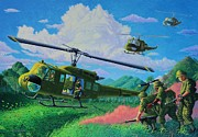 Helicopters Paintings - How I See My Father by J S  Ferguson